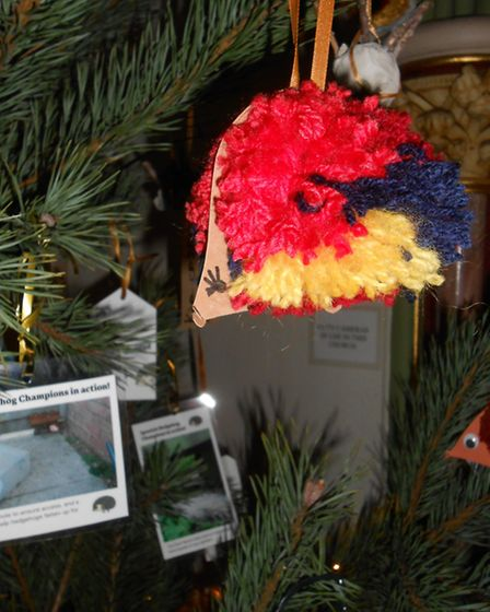 Baubles were created by children during a craft workshop at the cycle café led by Suffolk Wildlife T