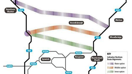 Possible routes for the northern by-pass.