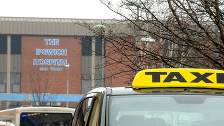 A taxi at Ipswich Hospital , picture Andy Abbott
