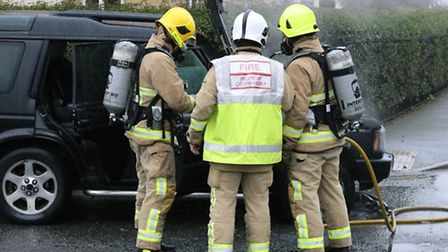 The scene of a car fire in Jovian Way, Ipswich, on Sunday January 15. Photo by KJ Spear