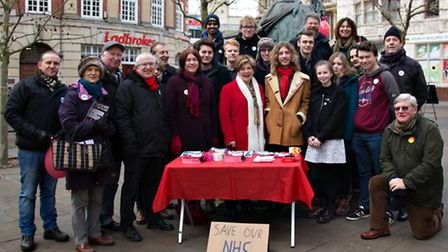 Emily Thornberry with Labour Party members in Ipswich.