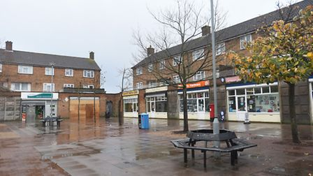 Stock image of the Hawthorn Drive shopping area in Ipswich.