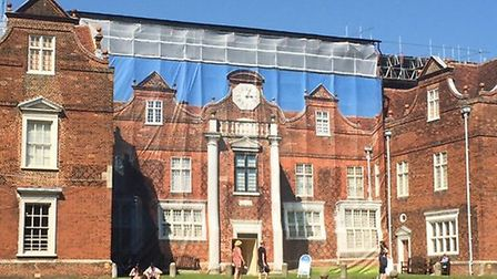 Work has been carried out at Christchurch Mansion - hidden by this huge photograph.