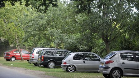 Drivers park on the grass verge at the Wherstead Road entrance to Bourne Park.