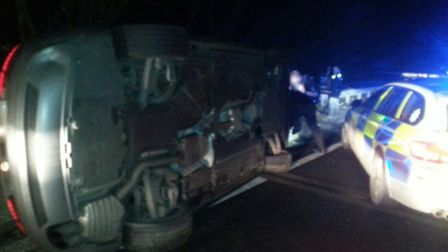 The car ended up on its side after failing to stop for officers on the A12 at Colchester. Photo by E