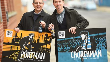 Beer and Co have launched two beers relating to Portman and Portman road. Left to right, Marc Titfor