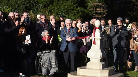 An Armillary sphere sundial has been restored and is now sitting pride of place in the butterfly gar