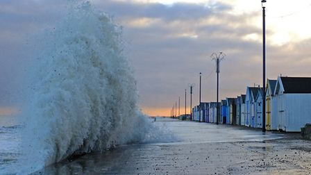 Storm surge in Felixstowe causing big waves. Picture: Stephen Squirrell