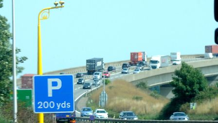 Average speed cameras on the A14 by the Orwell Bridge.