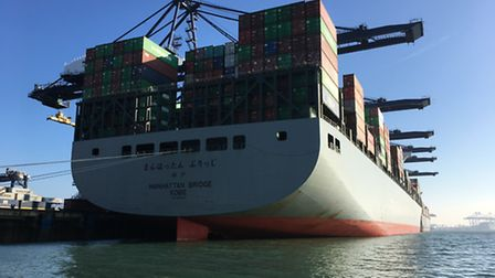 Manhattan Bridge container ship docked at Felixstowe port, were a boiler backfired in the engine ro