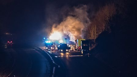 Crash on A14 at Needham Market, westbound, involving car and a lorry. Photo by Andrew Bloomfield of