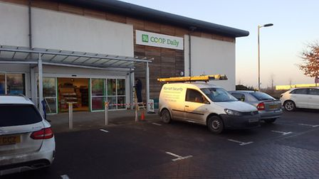 Bungled ramraid at the Co-op in Ravenswood, Ipswich.