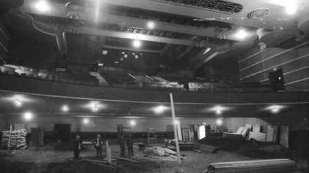 ABC Cinema in Ipswich undergoing alterations to the main screen in March 1973