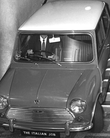 The Italian Job's infamous Mini Cooper drives down the stairs at the ABC Cinema in August 1969