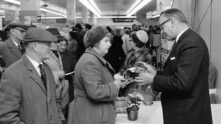 Percy John Thrower visited the Woolworths store in Ipswich, March 1973, to promote their new gardeni