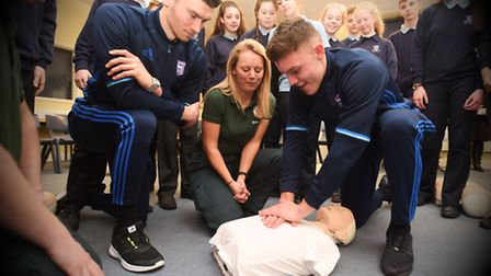 Left to right, Kieffer Moore, Jemma Varela and Paul Digby during a CPR session at Kesgrave High Scho