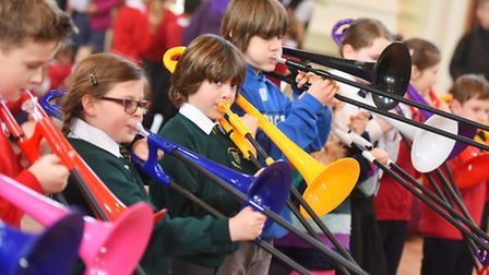 Various primary schools visit Royal Hospital School to perform with their instruments at the Blast O