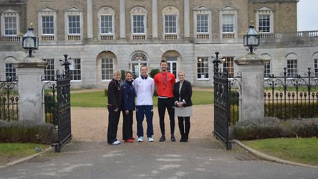 Olympic athlete Dominc King at Ipswich High School for Girls. From left to right: Director of sport