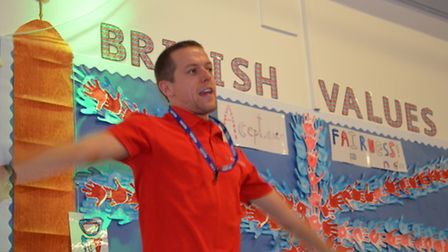 Olympic athlete Dominic King leading sports sessions at Ipswich High School for Girls. Picture: Sara