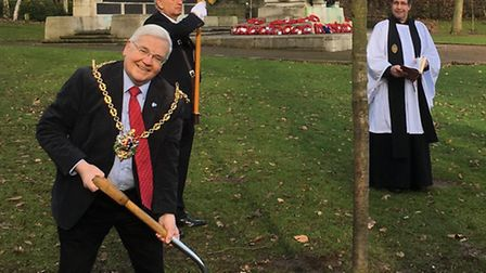 Ipswich mayor Roger Fern planting the oak tree in Christchurch Park in remembrance of those who serv