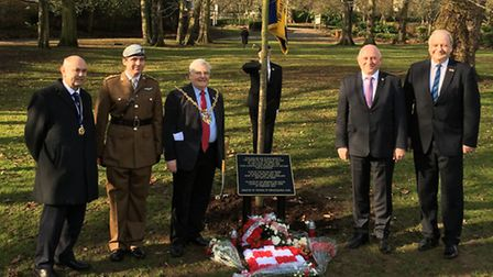 The oak tree planting ceremony in Christchurch Park, Ipswich, in remembrance of those who served in