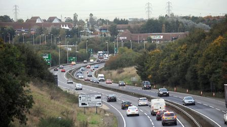 The A12 as it approaches the Copdock roundabout (stock image).