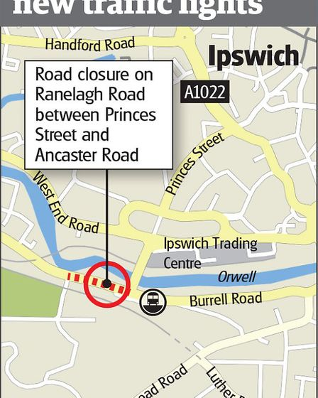 A map showing the road to be closed.