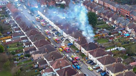 A serious house fire in Reading Road, Ipswich, taken from above. Picture: Sky Cam East
