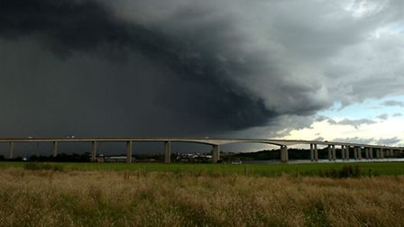 The Orwell Bridge in stormy weather. Picture: Wendy Turner