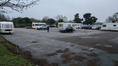 The travellers at Gainsborough Sports Centre in Ipswich earlier in the week before leaving today. Cr