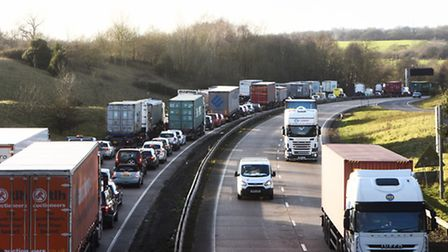 Traffic chaos on A14