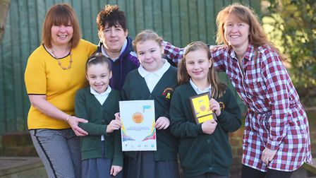 Bucklesham Primary School has been awarded a gold sports award from the school games. Left to right,