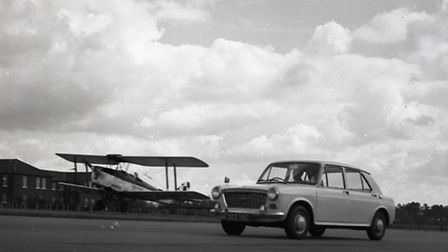 Testing out a plane versus a car at Martlesham airfield in 1964