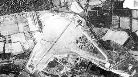 A German reconnaissance photograph from World War Two of Martlesham Airfield. The main Ipswich to Wo