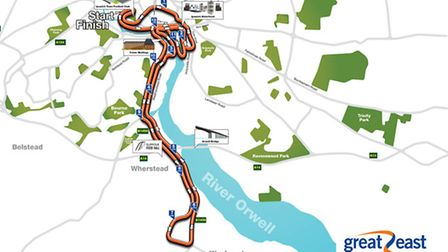 The course map of the Great East Run Ipswich 2017. Image: The Great Run Company.