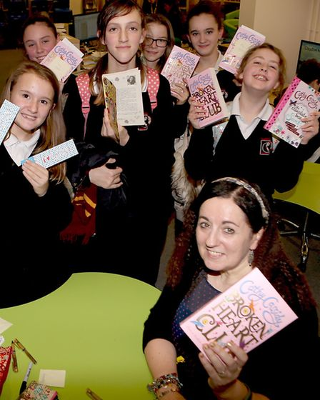 Best selling author Cathy Cassidy with students fom Claydon High School
