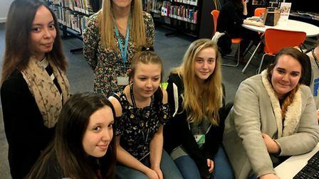 Suffolk New College Level 1 Childcare Students get ready for Safer Internet Day. From left, Raissa M