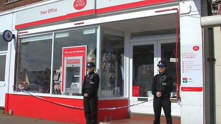 The police presence outside Dales Road Post Office in March 2015, following a burglary in which £3,0