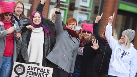 Suffolk Feminist Society has organised a 'rise' flash mob at the Giles Statue for One Billion Rising