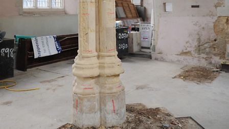 The columns mid-renovation at Quay Place. Picture: Lucy Taylor