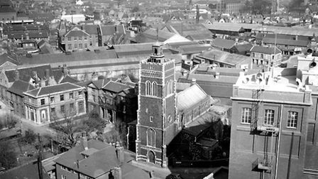 St Mary at the Quay, Ipswich, in the 1950s, when the church was at risk of demolition.