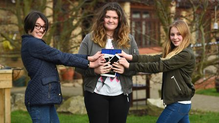 Girls go tech-free for St Elizabeth Hospice. One of the hospice supporters, Lucie Jenkins, 15, and h