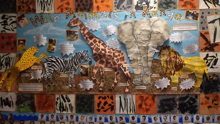 Students have created a display at school after learning about Kenya and raising funds for a charity