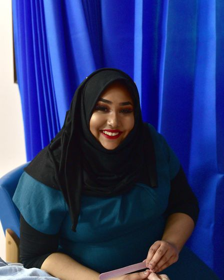 Suffolk New College student Rabbina Malik, 19, at Ipswich Hospital as part of the Kissing it Better