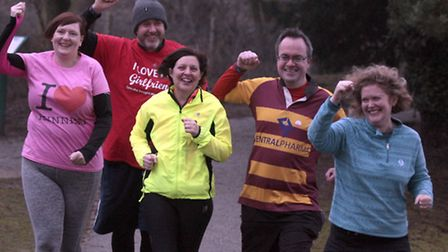 The five runners who won the Great East Run and Archant competition. l-r: Sara Spreadbridge, Tony H