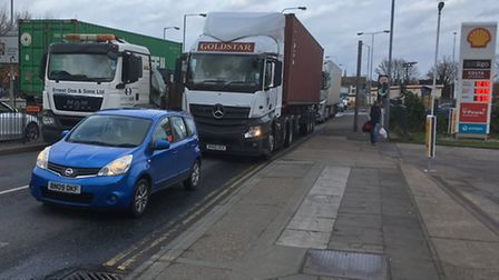 The traffic built up around Ipswich during Storm Doris. Picture: PAUL GEATER