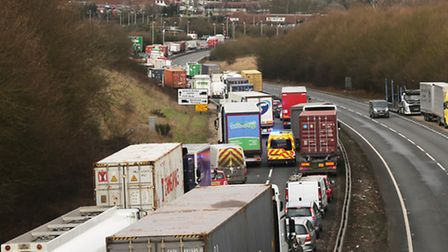 Traffic sparked by the Orwell Bridge closure in Suffolk. Picture: Mick Webb