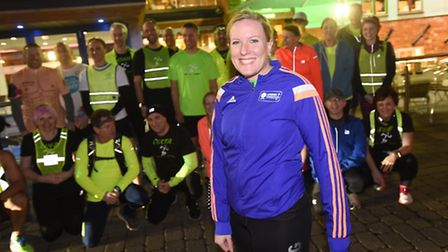 Nichola Whymark with friends and family during a celebratory run after completing her 40 challenges.