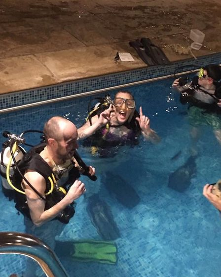 Nichola Whymark learning to scuba dive. Picture: Nichola Whymark