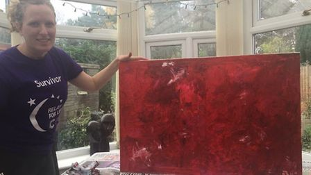 Nichola Whymark painting a canvas. Picture: Nichola Whymark